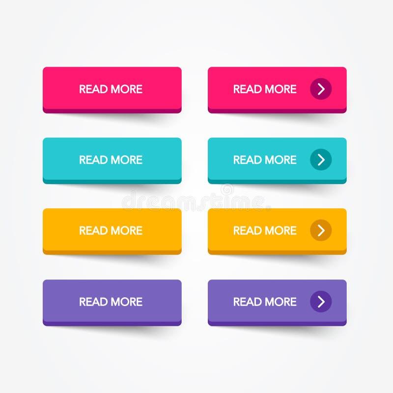 Lisez un ensemble plus coloré du bouton 3d sur le fond blanc Ligne plate collection de bouton Élément de Web de vecteur illustration stock