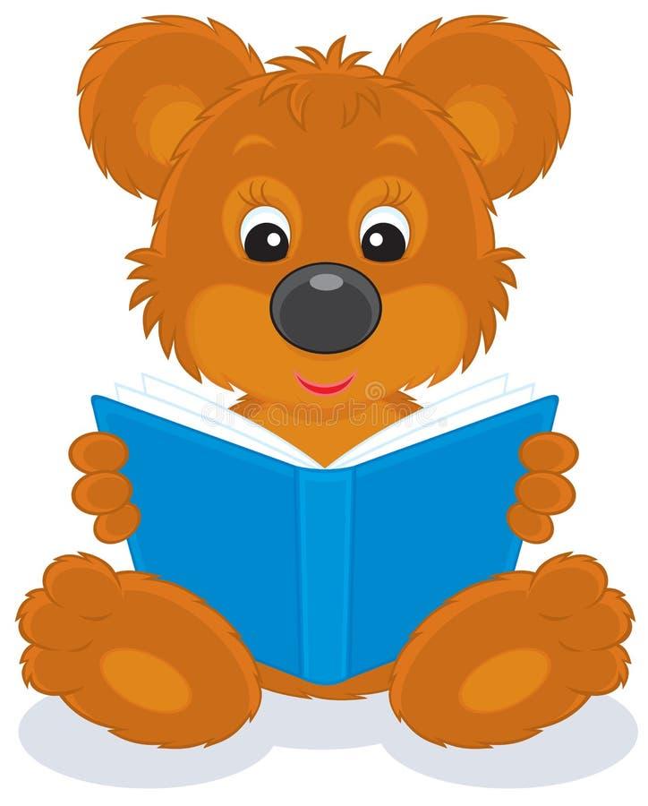lisiątka niedźwiadkowy książkowy czytanie royalty ilustracja