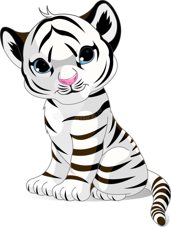 lisiątko biel śliczny tygrysi royalty ilustracja