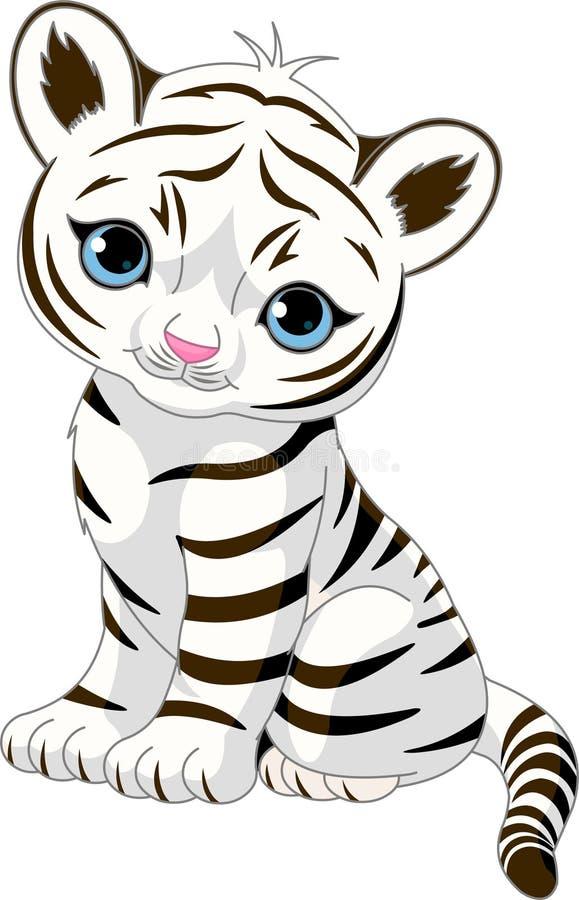 lisiątko biel śliczny tygrysi ilustracji