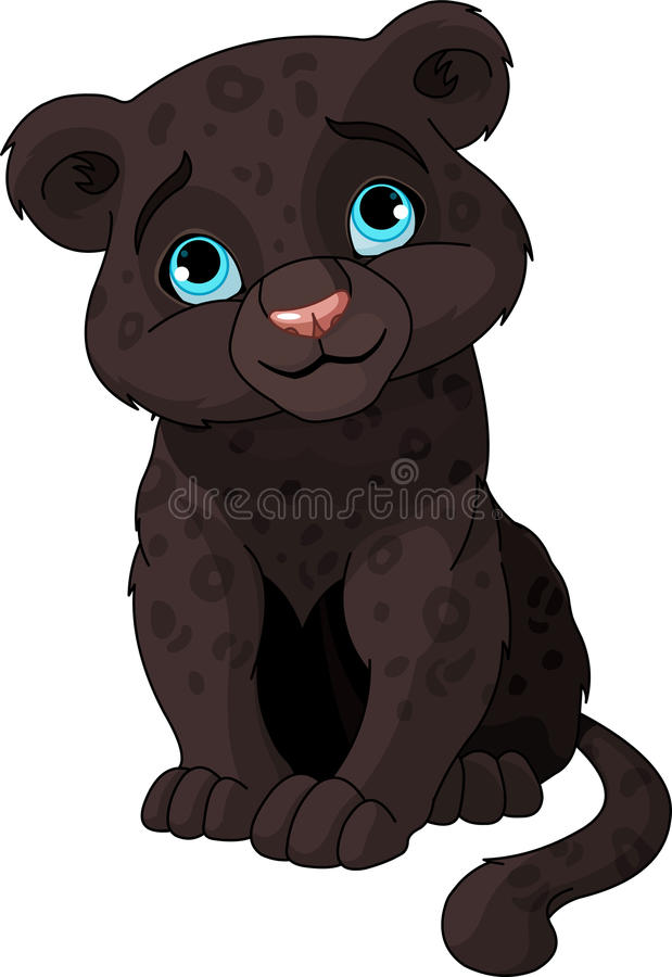lisiątko czarny pantera ilustracja wektor