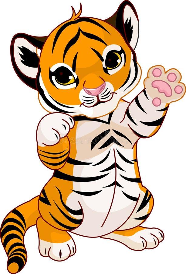 lisiątko tygrys śliczny figlarnie ilustracja wektor