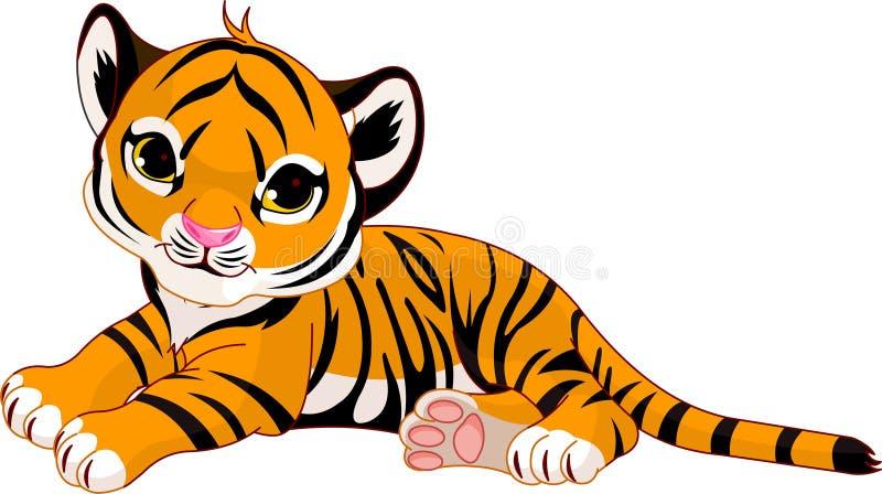 lisiątko tygrys mały odpoczynkowy ilustracji