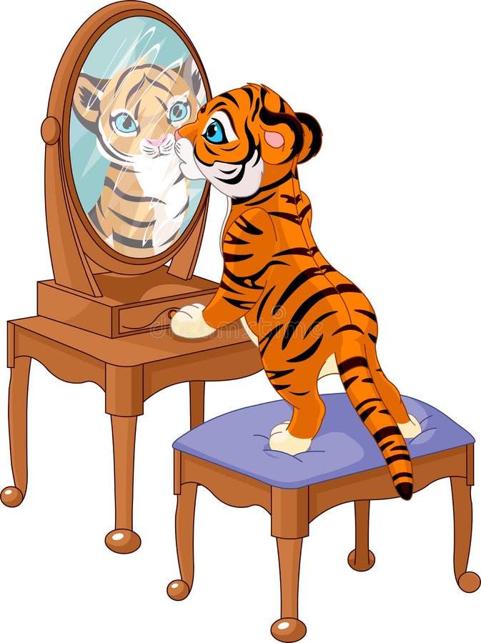 lisiątko tygrys przyglądający lustrzany royalty ilustracja