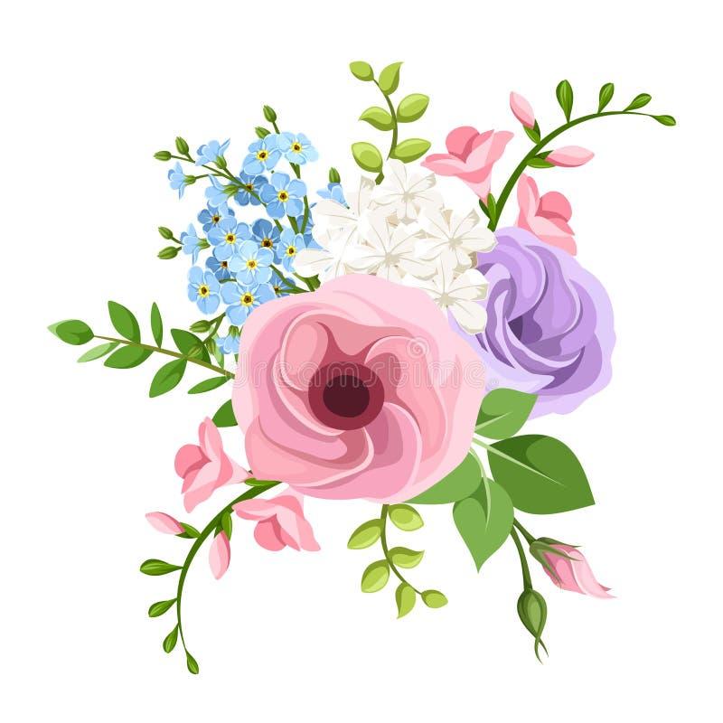 Lisianthus, frezi i niezapominajki kwiatów bukiet, również zwrócić corel ilustracji wektora ilustracja wektor