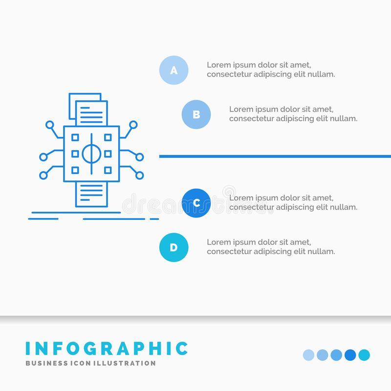 An?lisis, datos, dato, procesando, divulgando la plantilla de Infographics para la p?gina web y la presentaci?n L?nea estilo info ilustración del vector