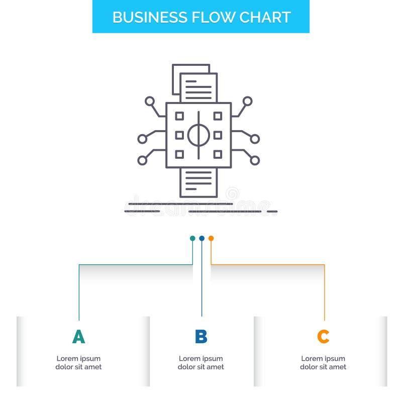 An?lisis, datos, dato, proceso, divulgando dise?o del organigrama del negocio con 3 pasos L?nea icono para el fondo de la present libre illustration