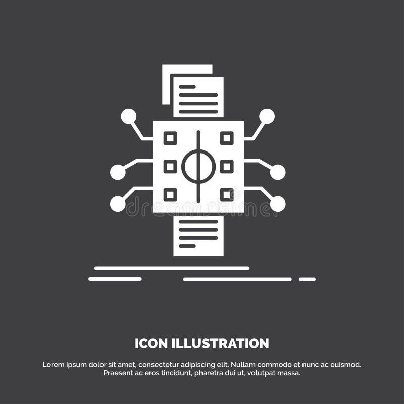 An?lisis, datos, dato, proceso, divulgando el icono s?mbolo del vector del glyph para UI y UX, p?gina web o aplicaci?n m?vil stock de ilustración