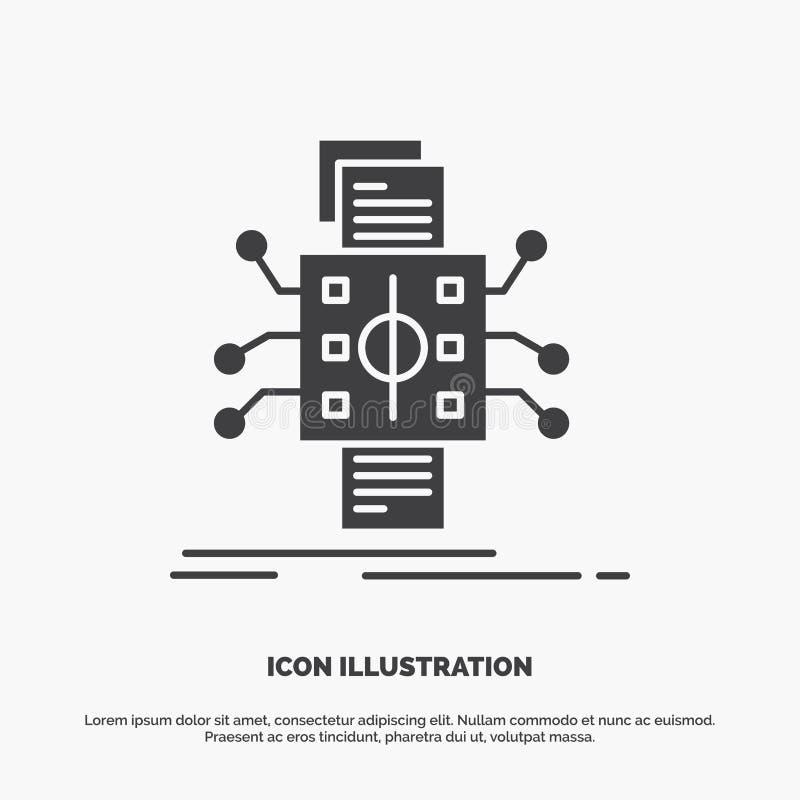 An?lisis, datos, dato, proceso, divulgando el icono s?mbolo gris del vector del glyph para UI y UX, p?gina web o aplicaci?n m?vil libre illustration