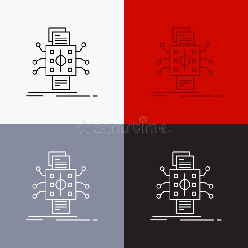 An?lisis, datos, dato, proceso, divulgando el icono sobre diverso fondo L?nea dise?o del estilo, dise?ado para la web y el app EP libre illustration