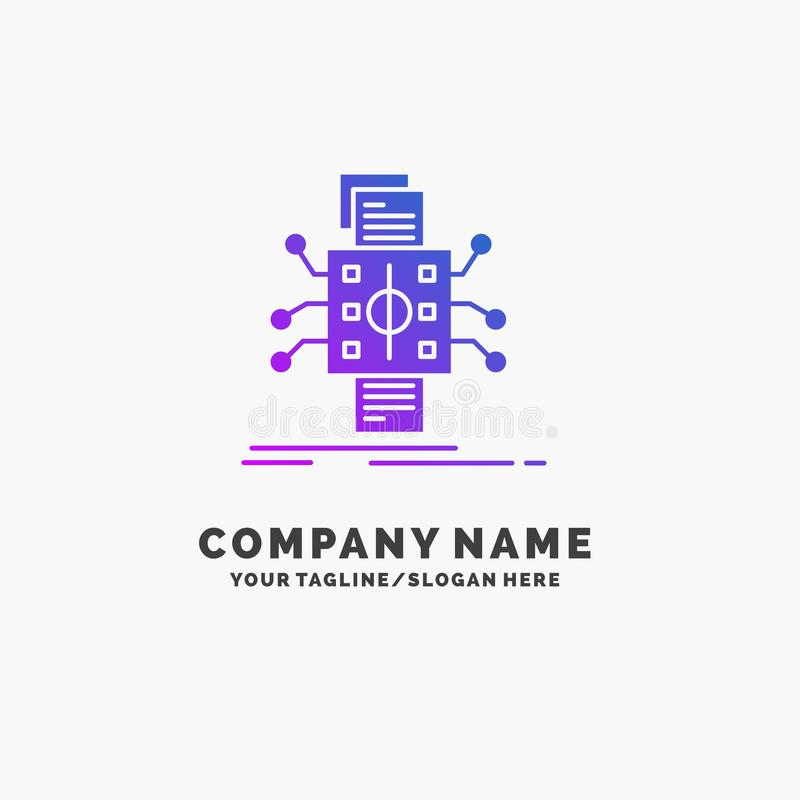 An?lisis, datos, dato, proceso, divulgando el negocio p?rpura Logo Template Lugar para el Tagline stock de ilustración