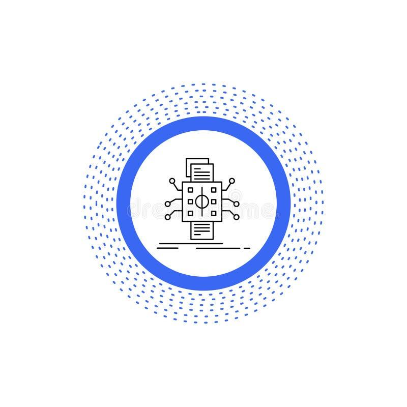 An?lisis, datos, dato, proceso, divulgando la l?nea icono Ejemplo aislado vector stock de ilustración