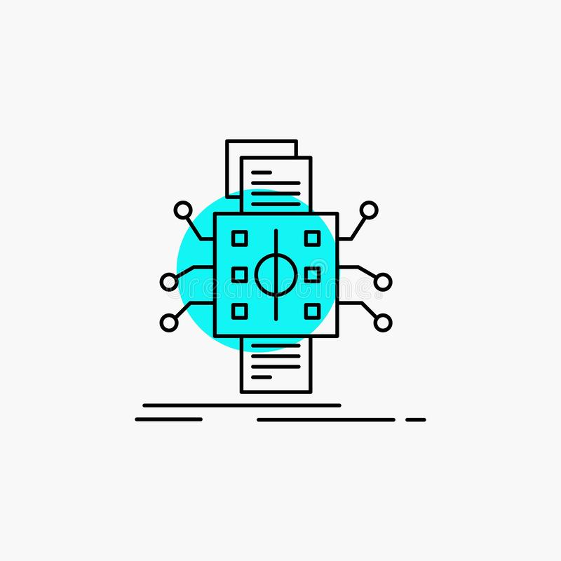 An?lisis, datos, dato, proceso, divulgando la l?nea icono stock de ilustración