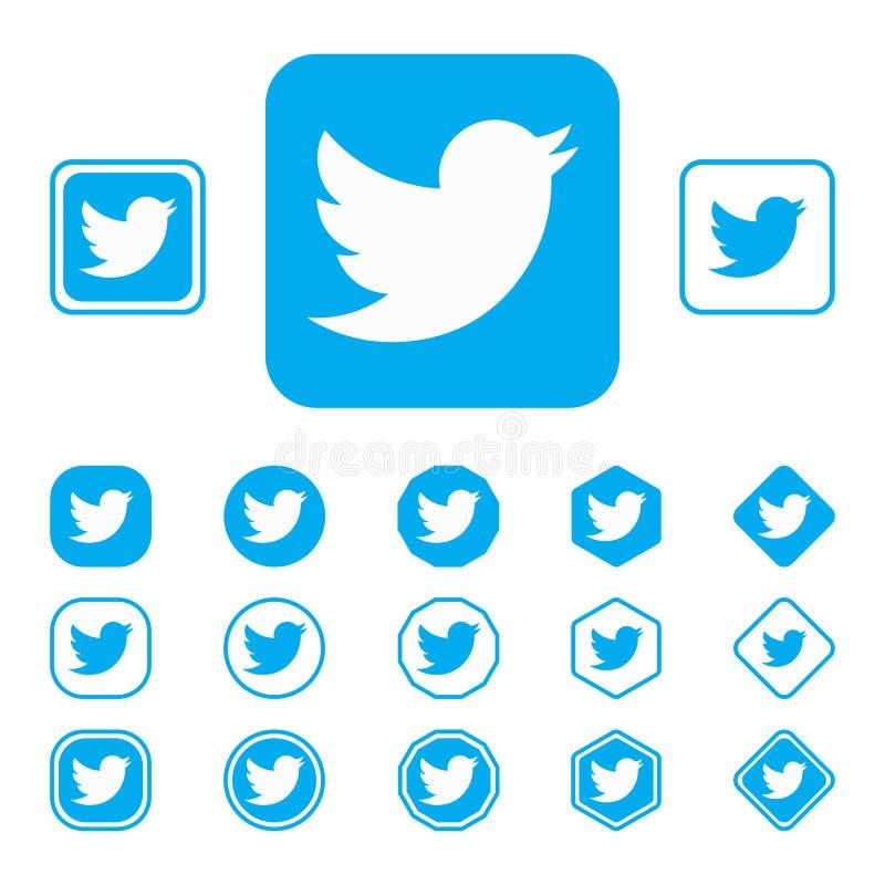 LISKI, RUSLAND - SEPTEMBER 29, het Embleem van 2018 van het bekende sociale netwerk Twitter Concept Achtergrond vector illustratie
