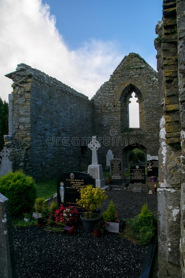 Lislaughtin Abbey with blue cloudy sky royalty free stock photo