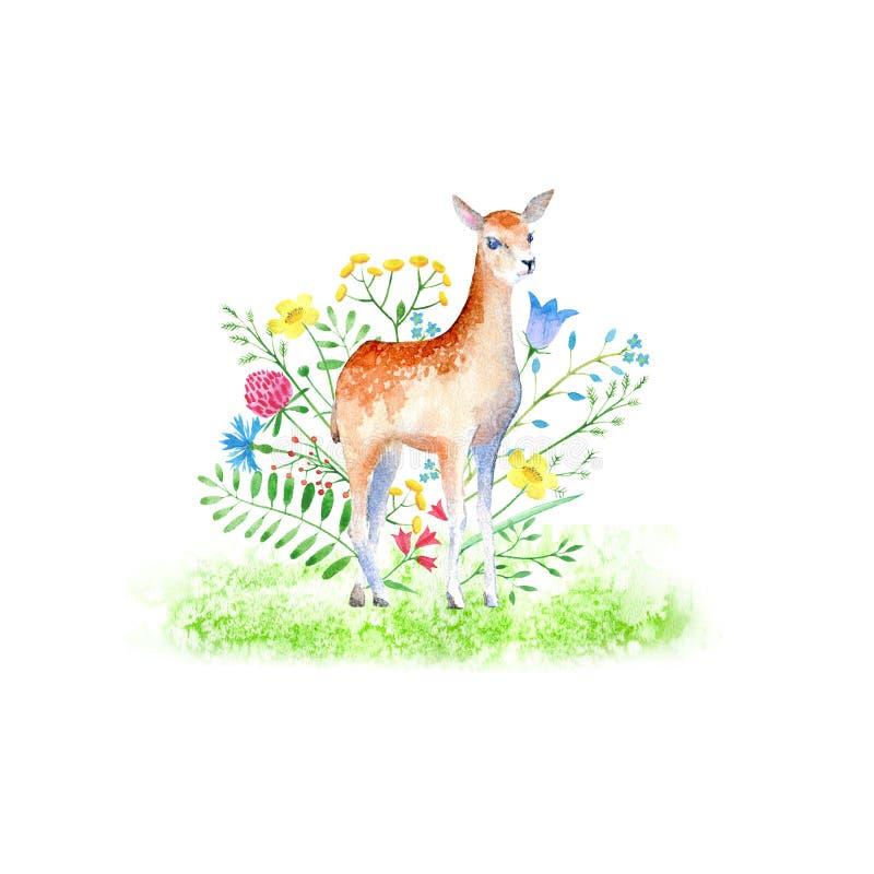 Lisma och blom- Hjortar för löst djur vektor illustrationer