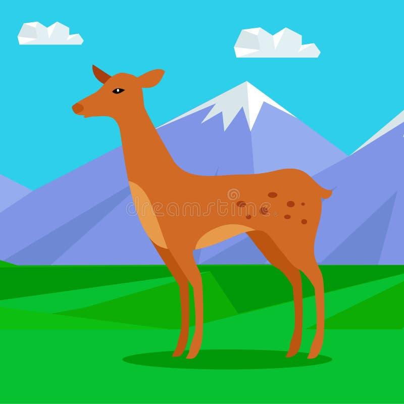 Lisma på gräsmatta i berg Unga hjortar stock illustrationer