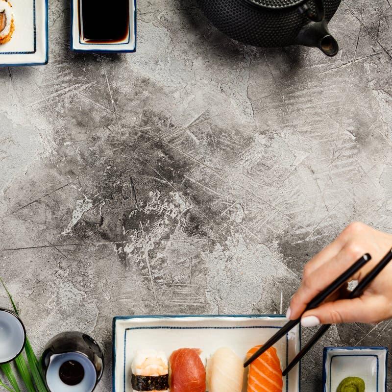 Liso-configuração do grupo do sushi foto de stock
