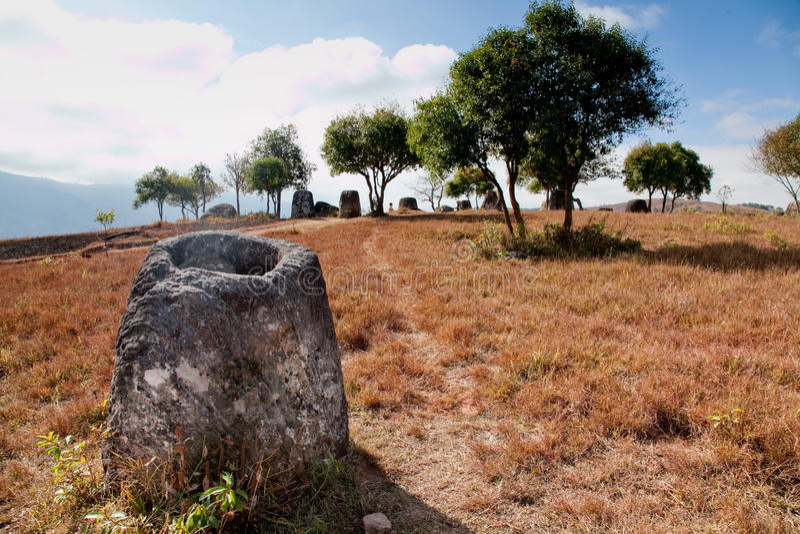 Liso dos frascos, Ponsevan, Laos imagens de stock royalty free