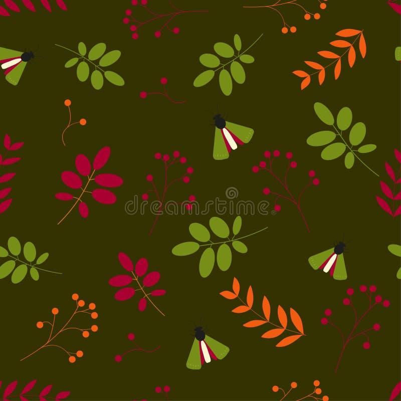 liso Teste padrão sem emenda: folhas, bagas, insetos, nós fundo verde ilustração do vetor
