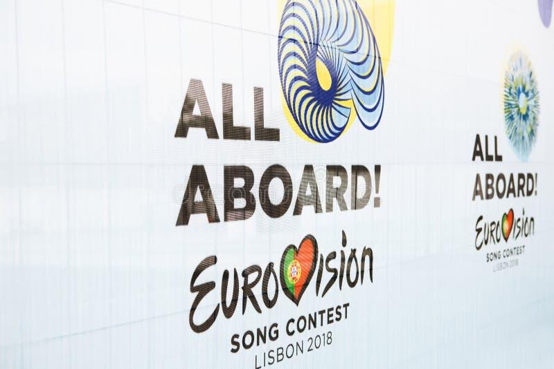 Lissabon, am 24. April 2018: Foto des Bildes mit Beamter Eurovisions-Symbole Eurovisions-Lied-Wettbewerb Lissabon 2018 A stockfotos