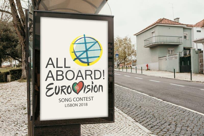 Lissabon, am 24. April 2018: Foto des Bildes mit Beamter Eurovisions-Symbole Eurovisions-Lied-Wettbewerb Lissabon 2018 A stockbild