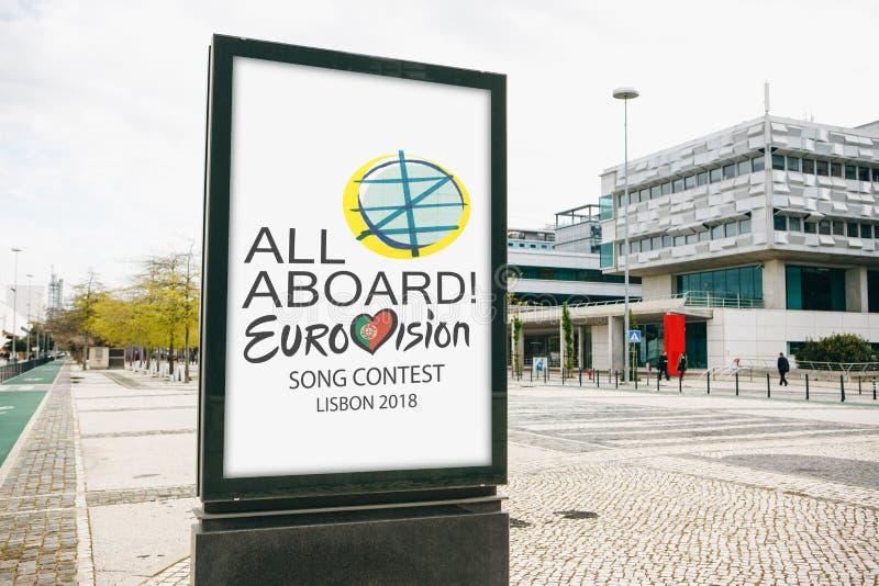 Lissabon, am 24. April 2018: Foto des Bildes mit Beamter Eurovisions-Symbole Eurovisions-Lied-Wettbewerb Lissabon 2018 A lizenzfreies stockfoto