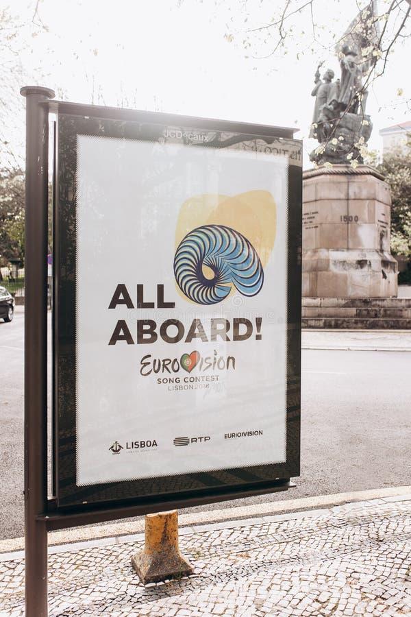 Lissabon, am 24. April 2018: Foto des Bildes mit Beamter Eurovisions-Symbole Eurovisions-Lied-Wettbewerb Lissabon 2018 A lizenzfreie stockbilder