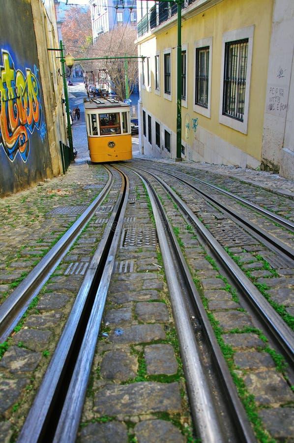 Lissabon bergbana fotografering för bildbyråer