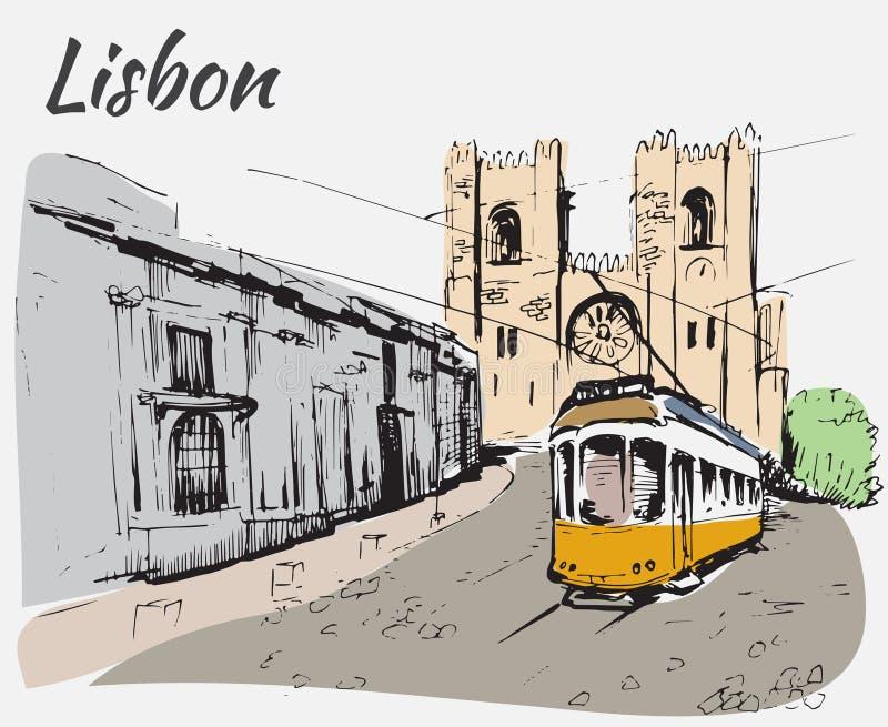 Lissabon domkyrka och spårvagn stock illustrationer