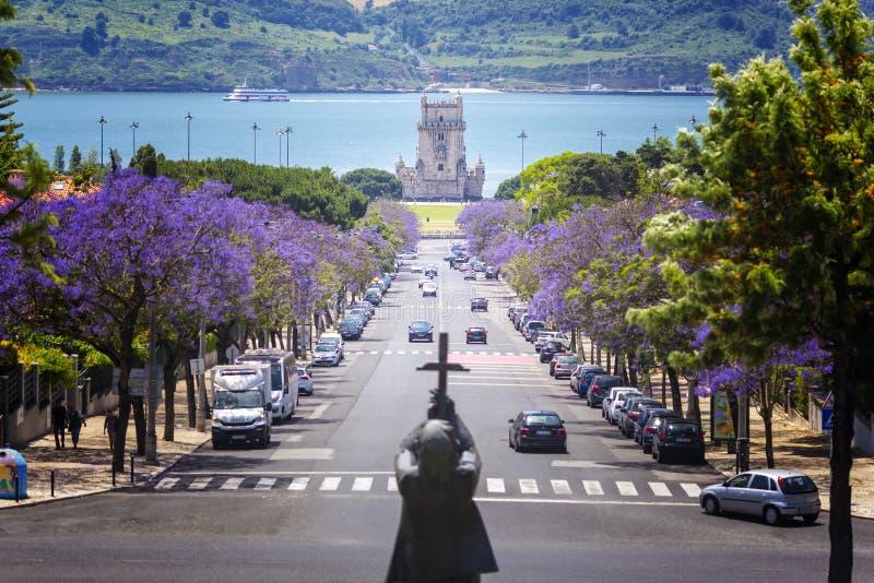Lissabon en de mening van de tejorivier stock afbeeldingen