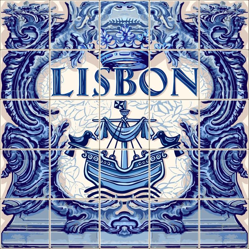 Lissabon för vektor Lissabon för keramisk tegelplatta souvenir vektor illustrationer