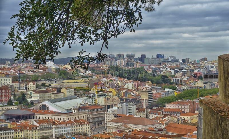 Lissabon från St George slottträdgårdar, Portugal fotografering för bildbyråer