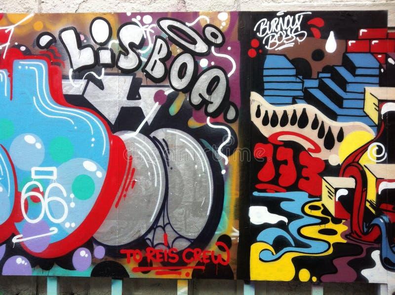 Lissabon grafittivägg royaltyfri bild
