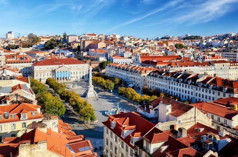 Lissabon horisont från Santa Justa Lift, Portugal arkivbild
