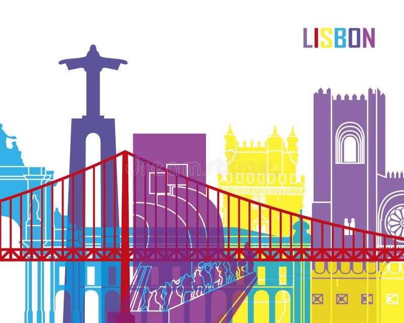 Lissabon horisontpop royaltyfri illustrationer