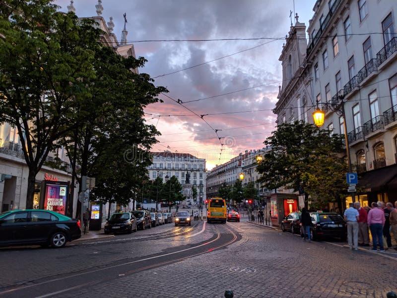 Lissabon nachts stockfoto
