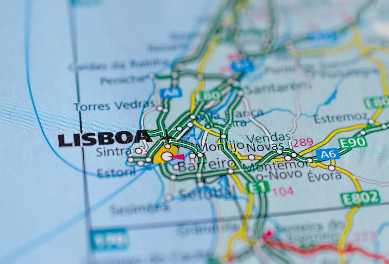 Lissabon op kaart stock afbeelding