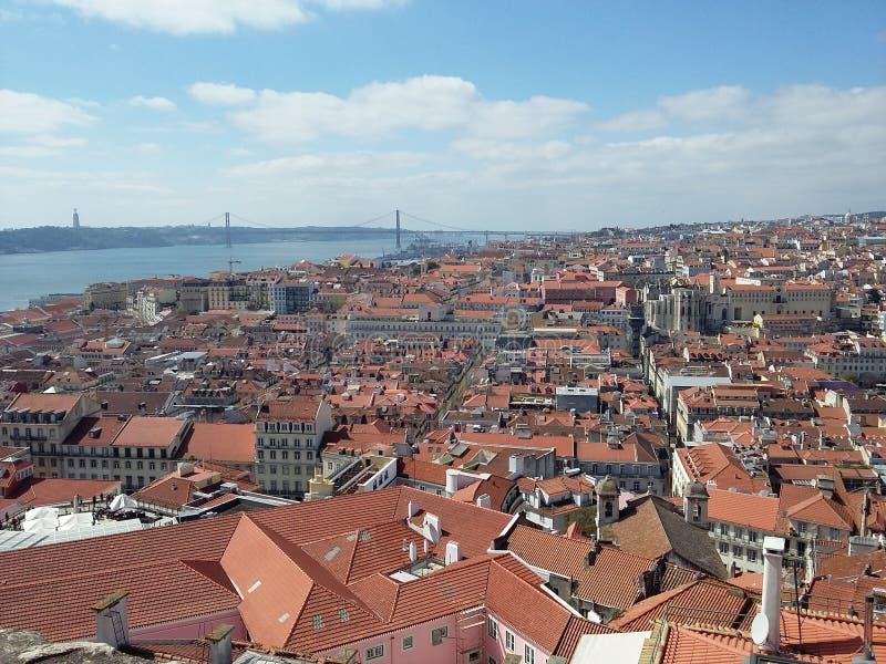 Lissabon panorama fotografering för bildbyråer