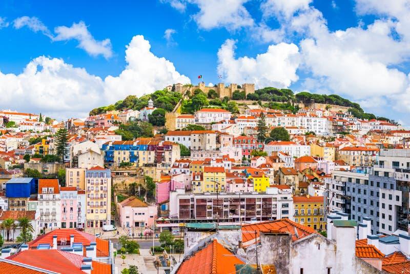 Lissabon Portugal horisont arkivbild