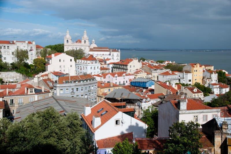 Lissabon, Portugal, mening op oude sity stock afbeeldingen