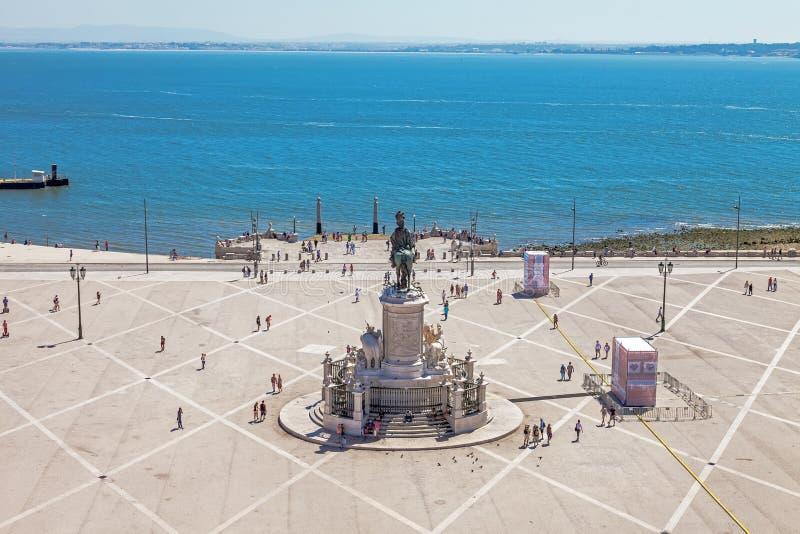 Lissabon, Portugal - 20 oktober 2019: Aereriell syn på Praca do Comercio alias Terreiro do Paco eller Commerce Square med King Do arkivbild