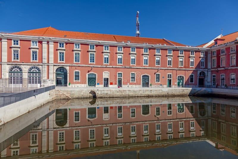Lissabon, Portugal - 20 oktober 2019: Caldeirinha Dock water spegel i den nybyggda Ribeira das Naus och Arsenal da Marinha fotografering för bildbyråer