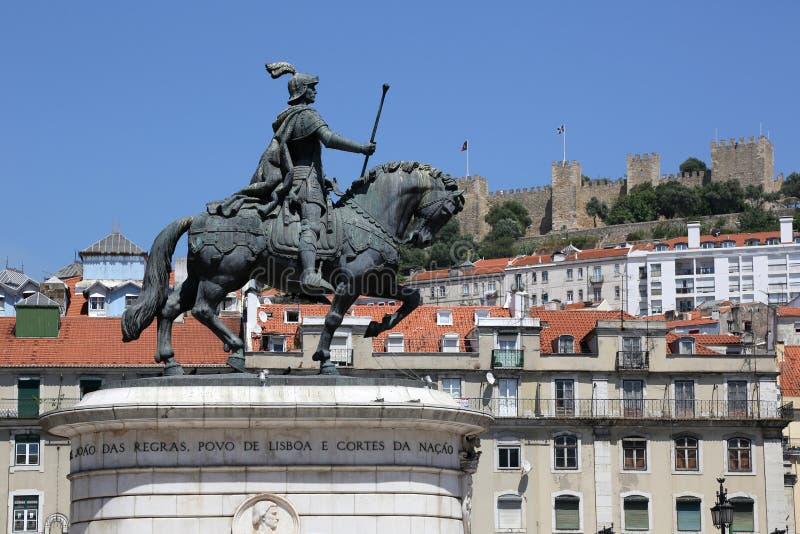 Lissabon Portugal Rossio Praca da Figueira arkivfoto