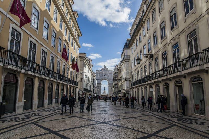 Lissabon Praça do Comércio stock afbeelding