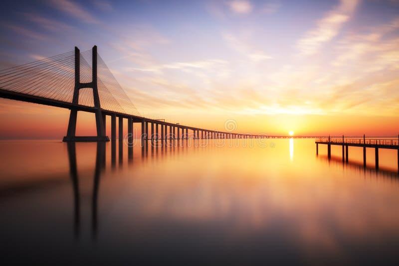 Lissabon Vasco da Gama bro, Portugal fotografering för bildbyråer