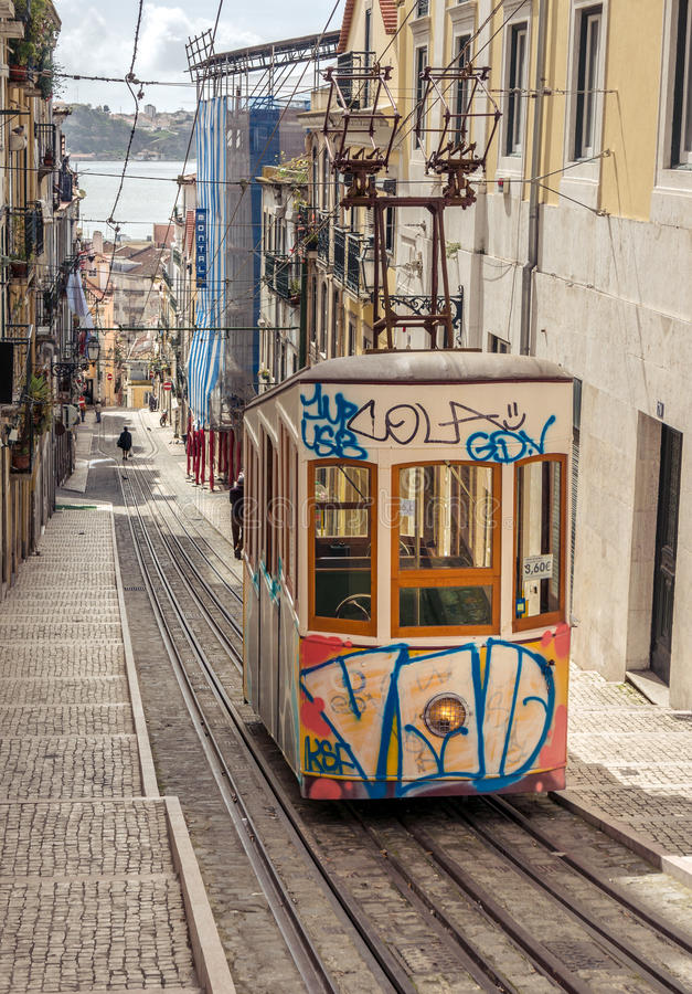 Lissabons Gloria bergbana royaltyfri bild