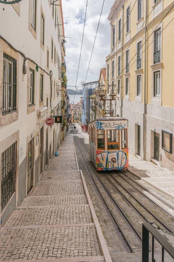 Lissabons Gloria bergbana i den Bairro alten - Lissabon arkivfoto