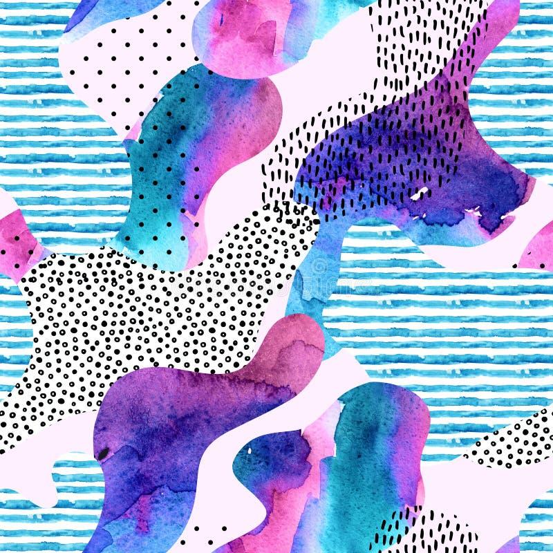 Lissez la forme de courbure remplie de modèle sans couture de texture barré par aquarelle illustration libre de droits