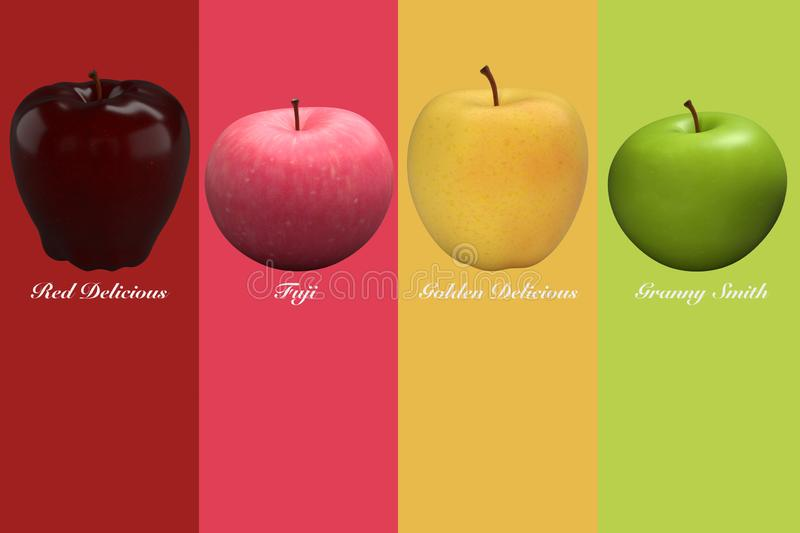 List of apples in the background royalty free stock image